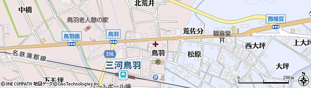 愛知県西尾市鳥羽町(南荒井)周辺の地図