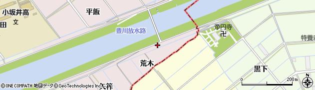 愛知県豊川市篠束町(荒木)周辺の地図