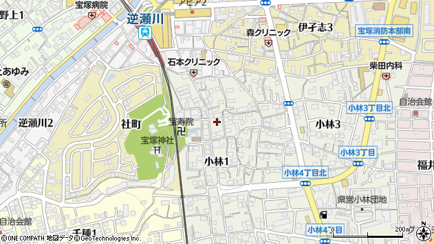 〒665-0034 兵庫県宝塚市小林の地図