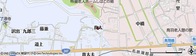 愛知県西尾市吉良町乙川(喜太)周辺の地図