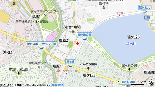 〒664-0005 兵庫県伊丹市瑞原の地図
