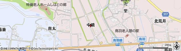 愛知県西尾市鳥羽町(中橋)周辺の地図