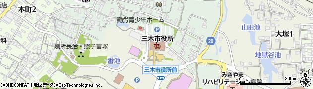 兵庫県三木市周辺の地図