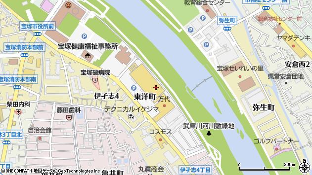 〒665-0032 兵庫県宝塚市東洋町の地図