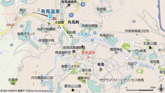 〒651-1401 兵庫県神戸市北区有馬町の地図