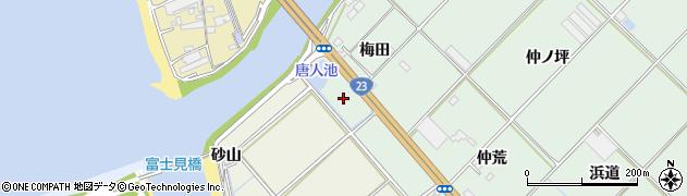 愛知県豊川市御津町下佐脇(新梅田)周辺の地図