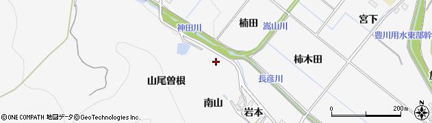 愛知県豊橋市嵩山町(南山)周辺の地図