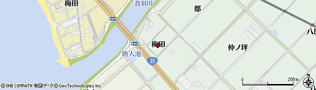 愛知県豊川市御津町下佐脇(梅田)周辺の地図