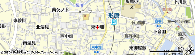 愛知県蒲郡市形原町(東中畑)周辺の地図