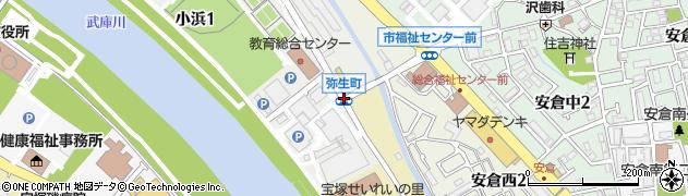 弥生町周辺の地図