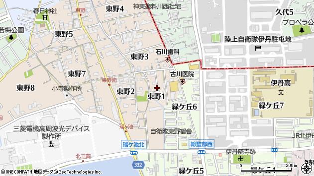 〒664-0004 兵庫県伊丹市東野の地図