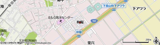 愛知県豊川市篠束町(仲堀)周辺の地図