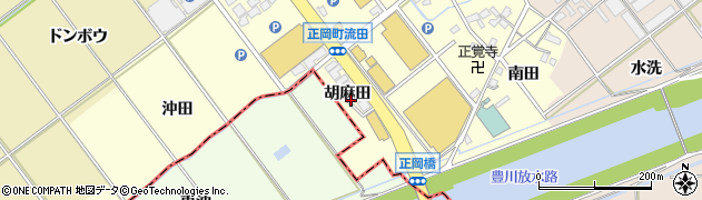 愛知県豊川市正岡町(胡麻田)周辺の地図