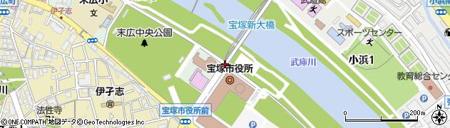 宝塚新大橋南詰周辺の地図