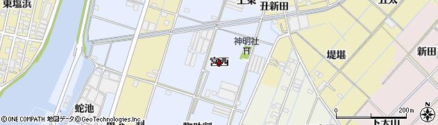 愛知県西尾市一色町藤江(宮西)周辺の地図