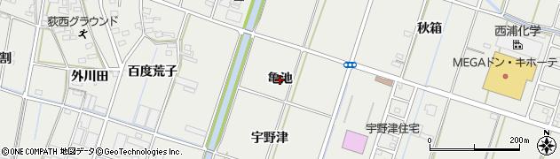 愛知県西尾市吉良町荻原(亀池)周辺の地図