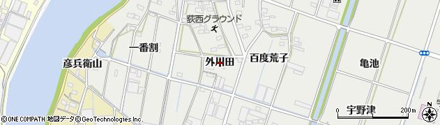 愛知県西尾市吉良町荻原(外川田)周辺の地図