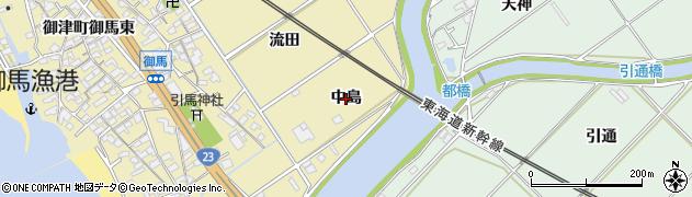 愛知県豊川市御津町御馬(中島)周辺の地図