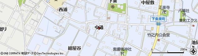 愛知県豊橋市下条東町(中通)周辺の地図