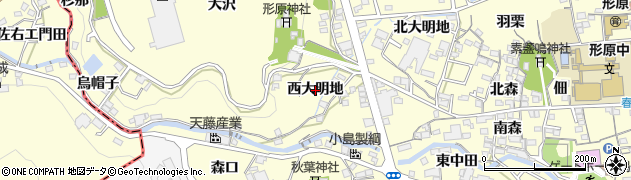 愛知県蒲郡市形原町(西大明地)周辺の地図