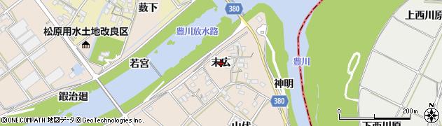 愛知県豊川市行明町(末広)周辺の地図
