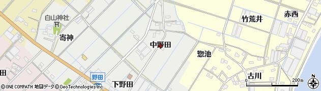 愛知県西尾市一色町野田(中野田)周辺の地図