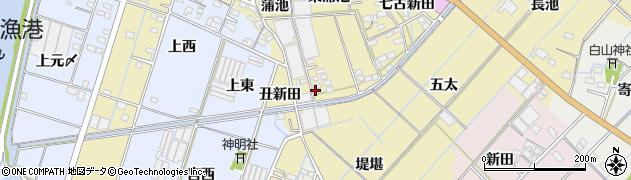 愛知県西尾市一色町対米(七蒲池)周辺の地図