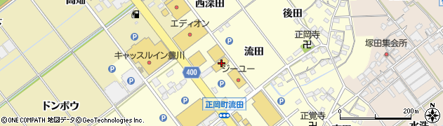 愛知県豊川市正岡町(流田)周辺の地図