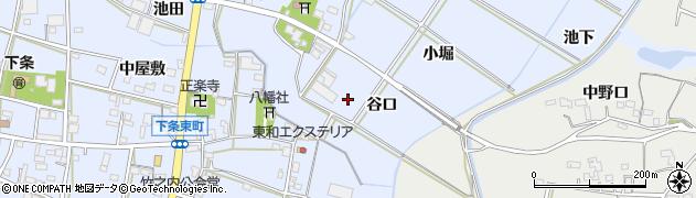 愛知県豊橋市下条東町(谷口)周辺の地図