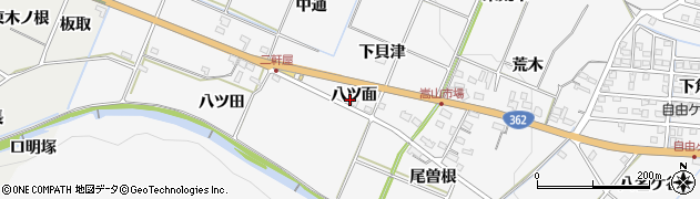 愛知県豊橋市嵩山町(八ツ面)周辺の地図