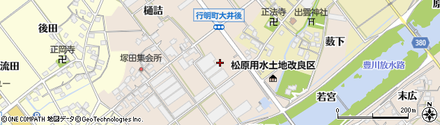 愛知県豊川市行明町(大井後)周辺の地図