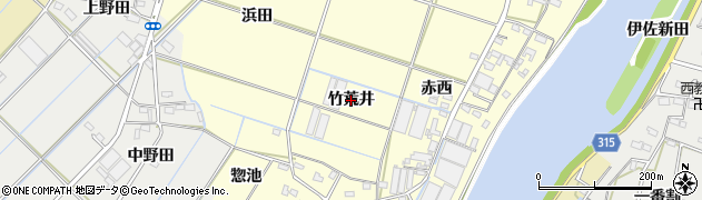 愛知県西尾市一色町大塚(竹荒井)周辺の地図