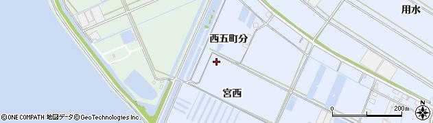 愛知県西尾市一色町小薮(西五町分)周辺の地図