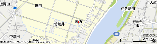 愛知県西尾市一色町大塚(赤西)周辺の地図
