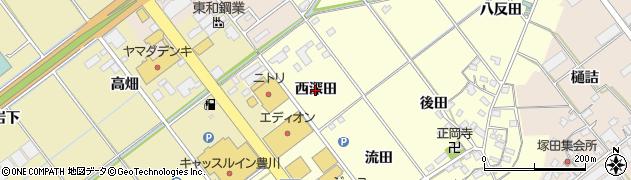 愛知県豊川市正岡町(西深田)周辺の地図