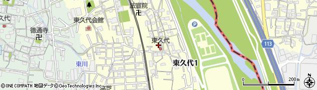 兵庫県川西市東久代周辺の地図