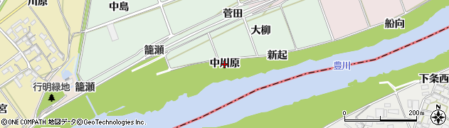 愛知県豊川市院之子町(中川原)周辺の地図
