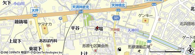 愛知県蒲郡市形原町(市場)周辺の地図