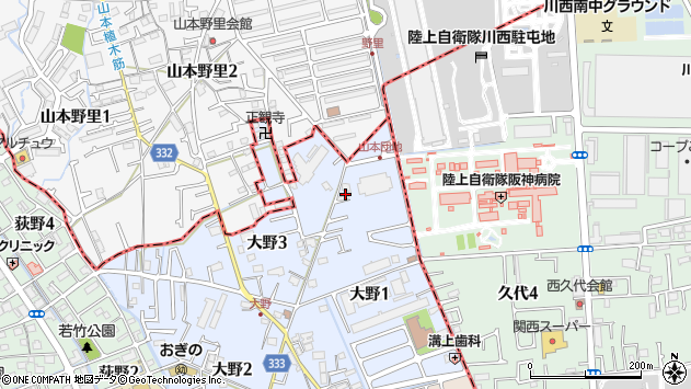 〒664-0003 兵庫県伊丹市大野の地図