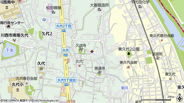 〒666-0024 兵庫県川西市久代の地図