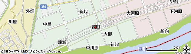 愛知県豊川市院之子町(菅田)周辺の地図
