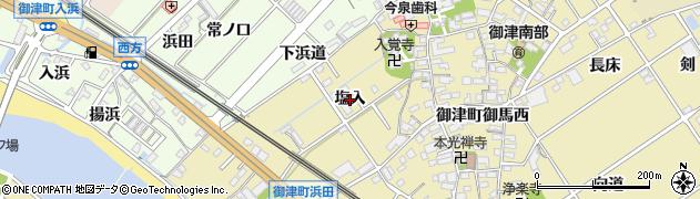 愛知県豊川市御津町御馬(塩入)周辺の地図