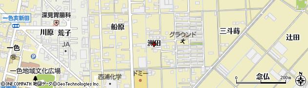 愛知県西尾市一色町対米(洲田)周辺の地図
