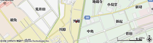 愛知県豊川市柑子町(外畑)周辺の地図