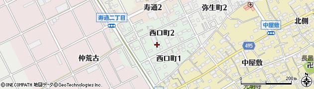 愛知県豊川市西口町周辺の地図