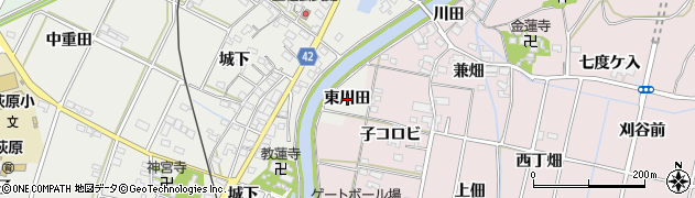 愛知県西尾市吉良町荻原(東川田)周辺の地図