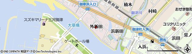 愛知県豊川市御津町大草(外新田)周辺の地図