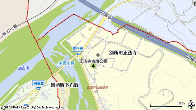 〒673-0454 兵庫県三木市別所町正法寺の地図