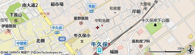 愛知県豊川市牛久保町周辺の地図