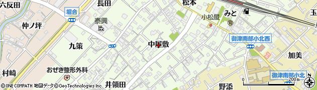 愛知県豊川市御津町西方(中屋敷)周辺の地図